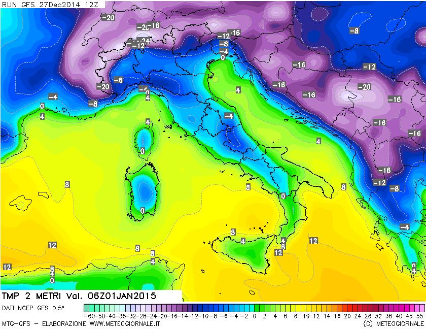 GFS, temperatura prevista a 2 metri per il 1° gennaio 2015 alle ore 7 italiane.