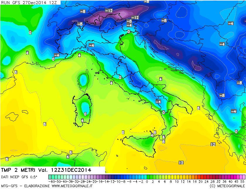 GFS ore 13 italiane del 31 dicembre 2014: previsione a 2 metri.