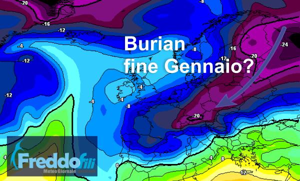 Temperatura prevista al fine mese alla quota del geopotenziale di 850 hPa (circa 1500 metri).