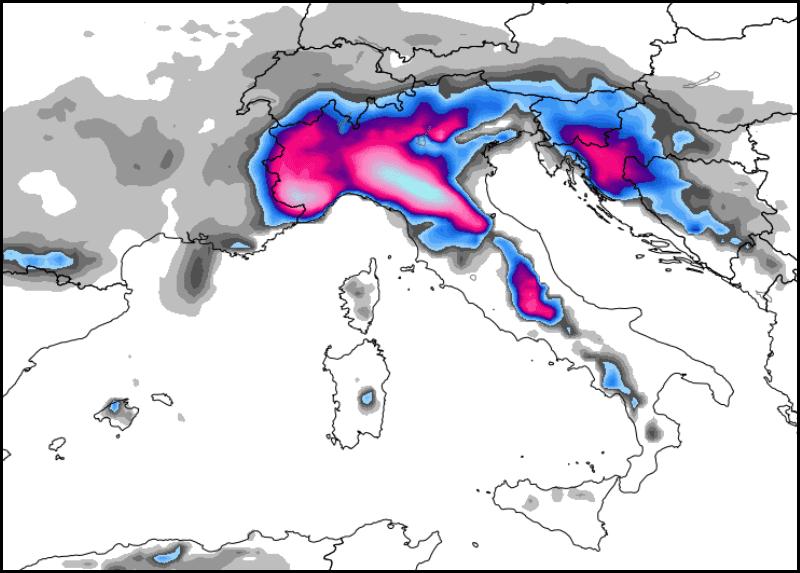 ECMWF, previsione neve tra le ore 7 italiane di oggi e per le successive 24 ore. Ultima emissione (00Z del 05/02/2015).