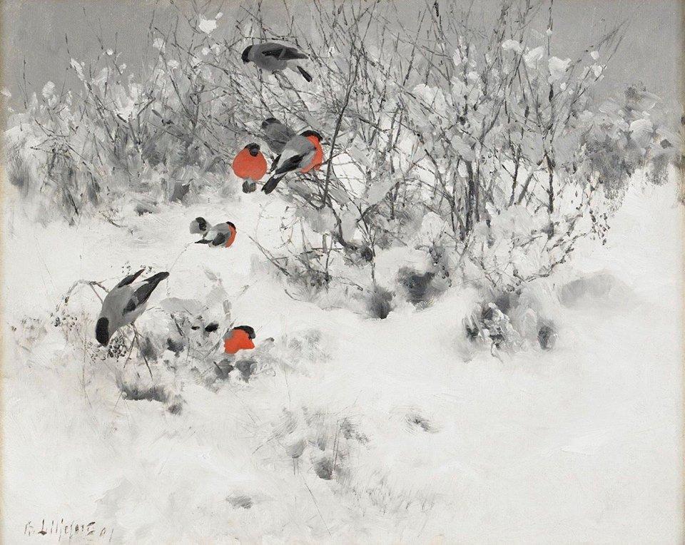 Bruno Liljefors Scena invernale con ciuffolotti 1891
