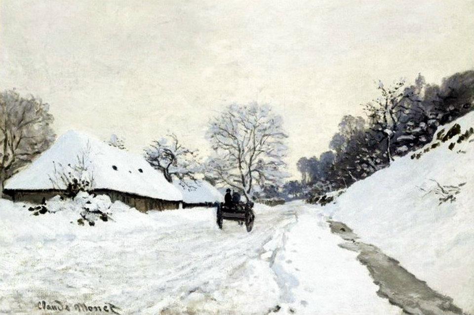 Monet Il calesse strada coperta di neve a Honfleur 1867