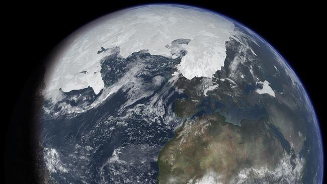 Stagione invernale durante un'ipotetica Era Glaciale vista dallo Spazio. Fonte immagine Wikipedia