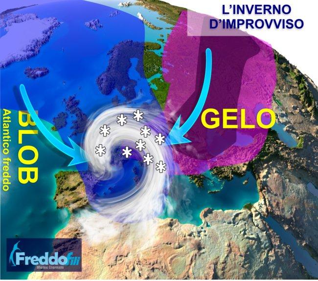 Scende di un improvviso Inverno. Semplificazione di ciò che deriva dalla proiezione dei modelli matematici di previsione.