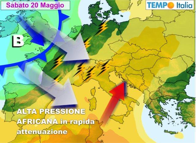 METEO ITALIA. Fase stabile con l'alta pressione. Caldo in aumento